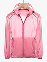 cheap -Women's Hiking Skin Jacket Hiking Windbreaker Outdoor Solid Color Packable Waterproof Lightweight UV Sun Protection Outerwear Jacket Top Elastane Fishing Climbing Running White Red Pink Green