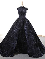 cheap -Ball Gown Luxurious Sparkle Quinceanera Prom Dress High Neck Sleeveless Floor Length Sequined with Pleats Sequin 2021