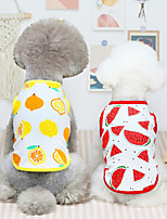 cheap -Dog Cat Shirt / T-Shirt Vest Watermelon Fruit Basic Adorable Cute Dailywear Casual / Daily Dog Clothes Puppy Clothes Dog Outfits Breathable Yellow Red Pink Costume for Girl and Boy Dog Cotton XS S M