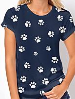 cheap -Women's T shirt Dog Graphic Print Round Neck Tops Basic Basic Top White khaki Navy Blue
