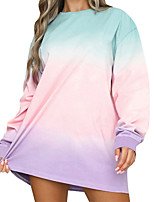 cheap -Women's Tee Dress Tie Dye Crew Neck Sport Athleisure Dress Long Sleeve Breathable Soft Comfortable Everyday Use Casual Daily Outdoor
