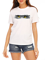 cheap -Women's T shirt Cat Letter Print Round Neck Tops 100% Cotton Basic Basic Top White Black