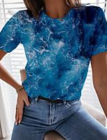 cheap -Women's T shirt Graphic Scenery Print Round Neck Tops Basic Beach Basic Top Blue