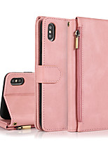 cheap -Multi-function zipper Solid Colored Case For Apple iPhone 12 11 SE2020 Shockproof  Wallet with Stand  Protective Case PU Leather TPU Cover for iPhone 12 Pro Max XR XS Max iPhone 8 7