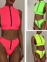 cheap -Women's Tankini Two Piece Swimsuit Elastane Swimwear Breathable Quick Dry Sleeveless 2 Piece Front Zip - Swimming Surfing Water Sports Painting Summer