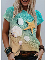 cheap -Women's T shirt Graphic 3D Print Round Neck Tops Basic Beach Basic Top Green