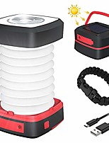 cheap -LED Campinglampe  faltbare Solar Camping Laterne Energienbank mit 2 Lademethoden (Solar/USB) und 3 Lichtmodi für Camping, Angeln, Notfall -inkl. Survival Armband mit Pfeife(Rot)