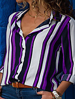 cheap -Women's Blouse Shirt Striped Long Sleeve Shirt Collar Tops Cotton Basic Basic Top Black Purple Wine