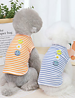 cheap -Dog Cat Shirt / T-Shirt Vest Stripes Basic Adorable Cute Dailywear Casual / Daily Dog Clothes Puppy Clothes Dog Outfits Breathable Blue Orange Green Costume for Girl and Boy Dog Cotton S M L XL XXL