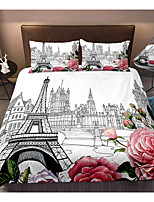 cheap -Eiffel Tower 3-Piece Duvet Cover Set Hotel Bedding Sets Comforter Cover with Soft Lightweight Microfiber, Include 1 Duvet Cover, 2 Pillowcases for Double/Queen/King(1 Pillowcase for Twin/Single)
