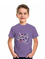 cheap -Kids Boys' T shirt Tee Short Sleeve Unicorn Graphic 3D Animal Print Children Tops Active Purple