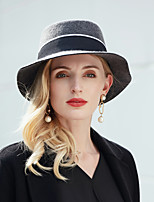 cheap -Stylish Elegant 100% Wool Hats with Braided Strap 1pc Casual Headpiece