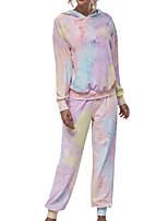 cheap -Women's Sweatsuit 2 Piece Set Elastic Waistband Tie Dye Front Pocket Hoodie Sport Athleisure Clothing Suit Long Sleeve Breathable Soft Comfortable Everyday Use Casual Daily Outdoor