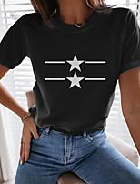 cheap -Women's T shirt Graphic Print Round Neck Tops Basic Basic Top Black