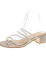 cheap -Women's Sandals Chunky Heel Open Toe Block Heel Sandals Casual Daily Walking Shoes PU Solid Colored Gold Silver