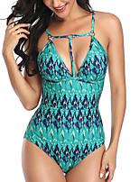 cheap -Women's One Piece Bikini Swimsuit Racerback Open Back Print Abstract Black Blue Light gray Swimwear Padded Strap Bathing Suits New Fashion Classic / Romper / Tattoo