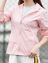 cheap -Women's Waterproof Hiking Jacket Hiking Skin Jacket Outdoor Solid Color Waterproof Lightweight Breathable Quick Dry Windbreaker Top Fishing Climbing Running White Pink Light Blue