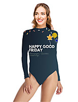 cheap -Women's New Vacation Fashion One Piece Swimsuit Color Block Letter Tummy Control Print Bodysuit Normal High Neck Swimwear Bathing Suits Blue / Party