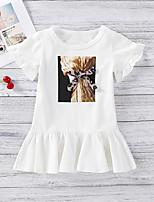 cheap -Toddler Little Girls' Dress Graphic Print White Midi Short Sleeve Sweet Dresses Regular Fit