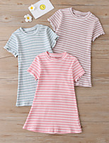 cheap -Kids Little Girls' Dress Solid Colored Blushing Pink Dusty Rose Gray Knee-length Short Sleeve Basic Dresses Regular Fit 3-10 Years