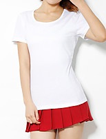 cheap -Women's T shirt Hiking Tee shirt Short Sleeve Crew Neck Tee Tshirt Top Outdoor Lightweight Breathable Quick Dry Soft Summer Cotton Solid Color White Black Red Fishing Climbing Running