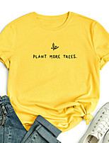 cheap -Women's T shirt Plants Graphic Text Print Round Neck Tops 100% Cotton Basic Basic Top White Blue Red