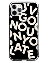 cheap -Black & White Letter Case For Apple iPhone 12 iPhone 11 iPhone 12 Pro Max Unique Design Protective Case Shockproof Pattern Back Cover TPU