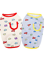 cheap -Dog Cat Shirt / T-Shirt Vest Print Car Basic Adorable Cute Dailywear Casual / Daily Dog Clothes Puppy Clothes Dog Outfits Breathable Yellow Red Costume for Girl and Boy Dog Polyster S M L XL XXL