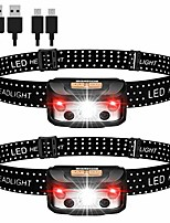 cheap -headlamp, headlamp led rechargeable, pack of 2 lightweight headlamp, super bright usb ipx65 waterproof sensor headlamp, red light headlights for jogging, running, camping, hiking, fishing