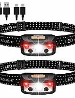 cheap -Stirnlampe,Stirnlampe LED wiederaufladbar,Pack of 2 Lightweight Headlamp,Superheller USB IPX65 Wasserdicht Sensor Kopflampe,Rotlicht  Headlights für Joggen, Laufen, Campen,Wandern,Angeln