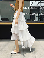 cheap -Women's Ceremony Tea Party Elegant Streetwear Skirts Solid Colored Layered Pleated Patchwork White Black