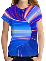 cheap -Women's T shirt Graphic 3D Print Round Neck Tops Basic Basic Top Blue