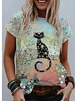 cheap -Women's T shirt Cat Graphic Print Round Neck Tops Basic Basic Top Light Green