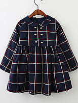 cheap -Kids Toddler Little Girls' Dress Blue & White Check Solid Colored Print Blue Above Knee Long Sleeve Basic Cute Dresses Children's Day Regular Fit 3-8 Years