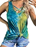 cheap -Women's Tank Top Tee / T-shirt Tie Dye Crossover Scoop Neck Sport Athleisure T Shirt Top Sleeveless Breathable Soft Comfortable Everyday Use Casual Daily Outdoor