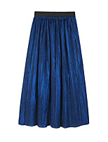 cheap -Women's Vacation Going out Elegant Streetwear Skirts Solid Colored Pleated Blue Purple Wine