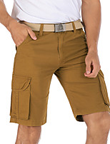 cheap -Men's Hiking Shorts Hiking Cargo Shorts Solid Color Summer Outdoor Breathable Multi-Pockets Wear Resistance Scratch Resistant Cotton Shorts Black Yellow Khaki Green Brown Hunting Fishing Climbing 30
