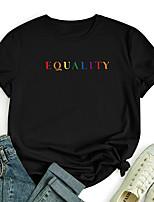 cheap -Women's T shirt Color Gradient Graphic Letter Print Round Neck Tops 100% Cotton Basic Basic Top White Black Blue