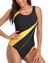 cheap -Women's New Cute Sweet Romper Swimsuit Stripe Racerback Open Back Print Padded Normal Strap Swimwear Bathing Suits White Black Yellow / Bikini / One Piece / Tattoo