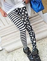 cheap -Women's Stylish Streetwear Comfort Casual Weekend Leggings Pants Stripe Star Ankle-Length Print Black