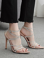 cheap -Women's Sandals Stiletto Heel Round Toe High Heel Sandals Classic Daily Leather Solid Colored Almond Black Silver