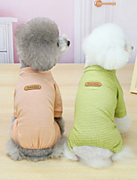 cheap -Dog Cat Jumpsuit Pajamas Stripes Basic Adorable Cute Dailywear Casual / Daily Dog Clothes Puppy Clothes Dog Outfits Breathable 21 Korean Striped Homewear-Yellow 21 Korean Striped Homewear-Pink 21
