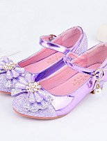 cheap -Girls' Heels Moccasin Flower Girl Shoes Princess Shoes Rubber PU Little Kids(4-7ys) Big Kids(7years +) Daily Party & Evening Walking Shoes Rhinestone Buckle Sequin Purple Pink Silver Fall Spring