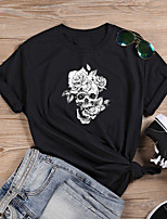 cheap -Women's T shirt Floral Skull Letter Print Round Neck Tops 100% Cotton Basic Basic Top White Black Purple