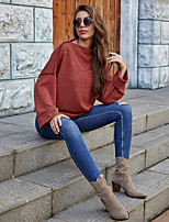 cheap -Women's Sweatshirt Sweater Pullover Pure Color Crew Neck Sport Athleisure Sweatshirt Top Long Sleeve Breathable Soft Comfortable Everyday Use Casual Daily Outdoor