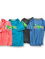 cheap -Kids Boys' T shirt Tee Dinosaur Letter Animal Print Short Sleeve Active Streetwear Blue Orange Dark Gray