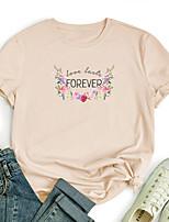cheap -Women's T shirt Graphic Flower Letter Print Round Neck Tops 100% Cotton Basic Basic Top White Black Blue