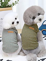 cheap -Dog Cat Shirt / T-Shirt Vest Stripes Basic Adorable Cute Dailywear Casual / Daily Dog Clothes Puppy Clothes Dog Outfits Breathable Yellow Green Costume for Girl and Boy Dog Cotton S M L XL XXL