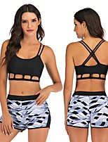 cheap -Women's Tankini Two Piece Swimsuit Swimwear Breathable Quick Dry Sleeveless 2 Piece - Swimming Surfing Water Sports Painting Autumn / Fall Spring Summer