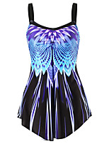 cheap -Women's Tankini Spandex Swimwear Quick Dry Sleeveless 2 Piece - Swimming Surfing Water Sports Optical Illusion Summer